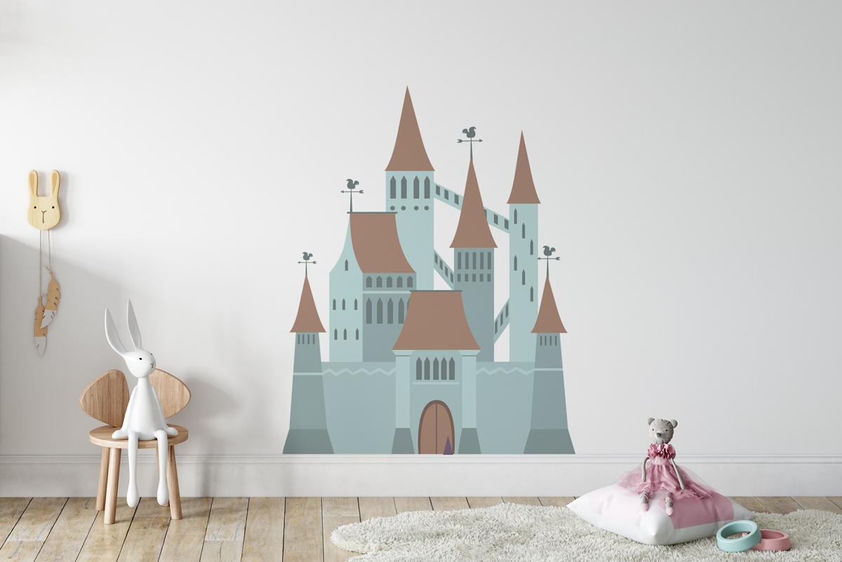 Naklejka - Szaro-niebieski zamek - fototapeta.shop