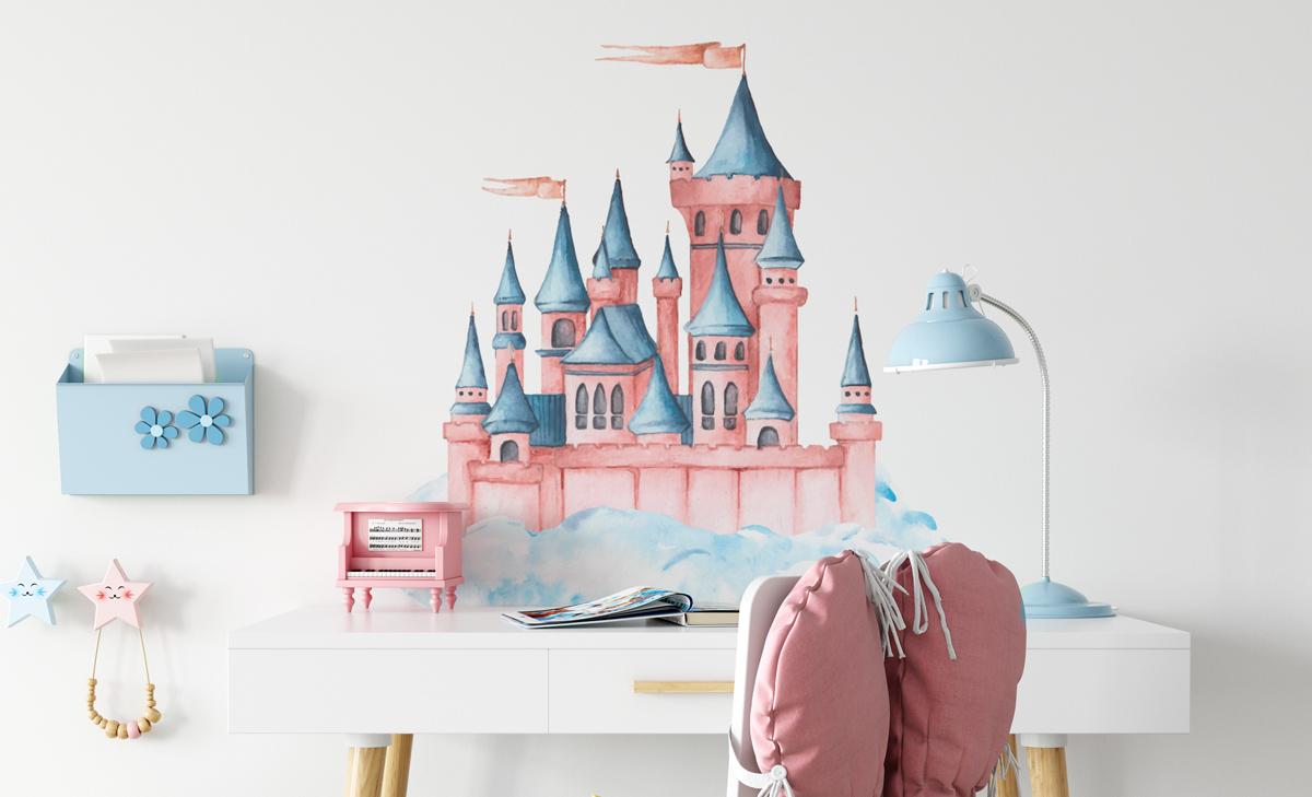 Naklejka - Różowy pałac w chmurach - fototapeta.shop