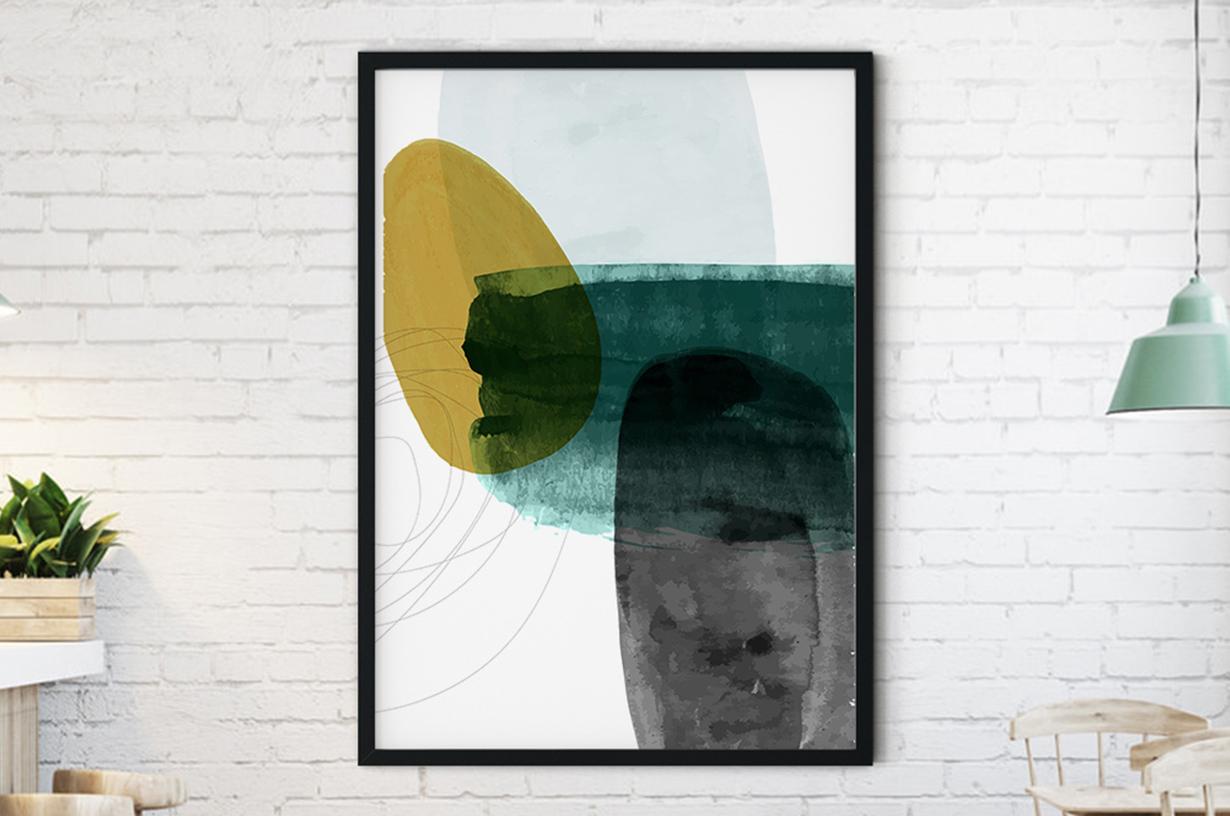 Plakat - Barwna garfika w odcieniach zieleni - fototapeta.shop