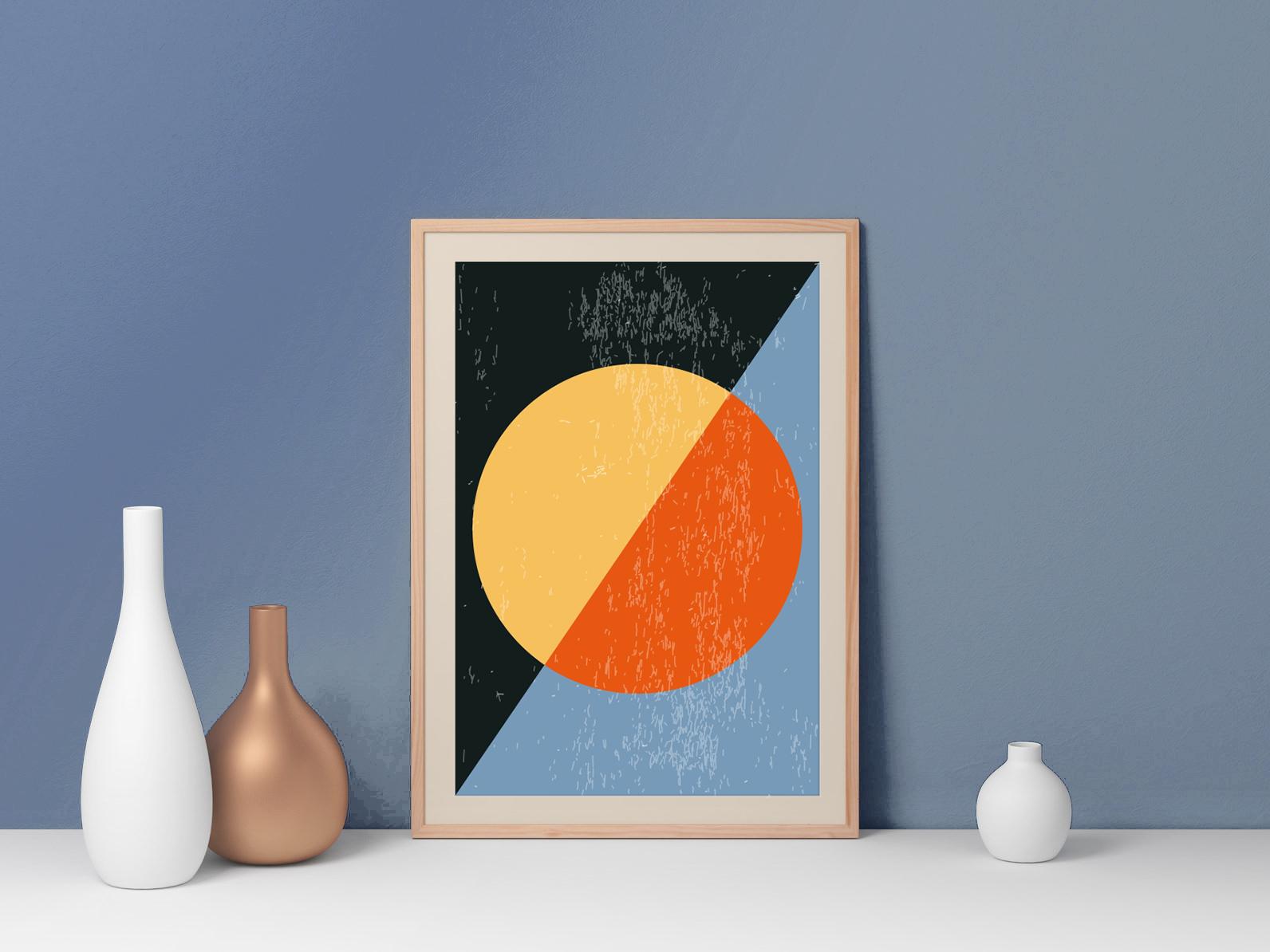 Plakat - Grafika z kołem i kolorami - fototapeta.shop