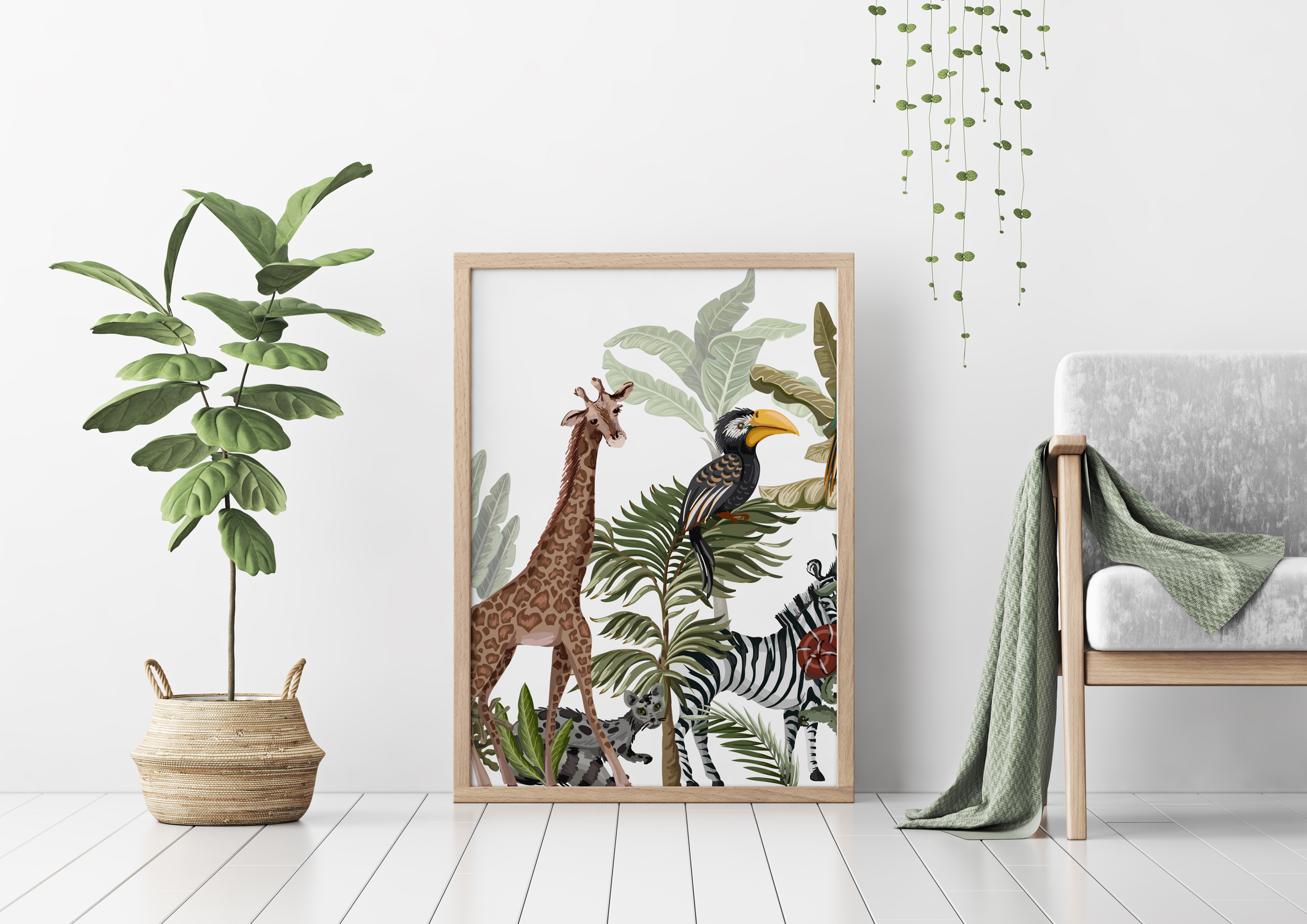 Plakat - Żyrafa wśród palm - fototapeta.shop