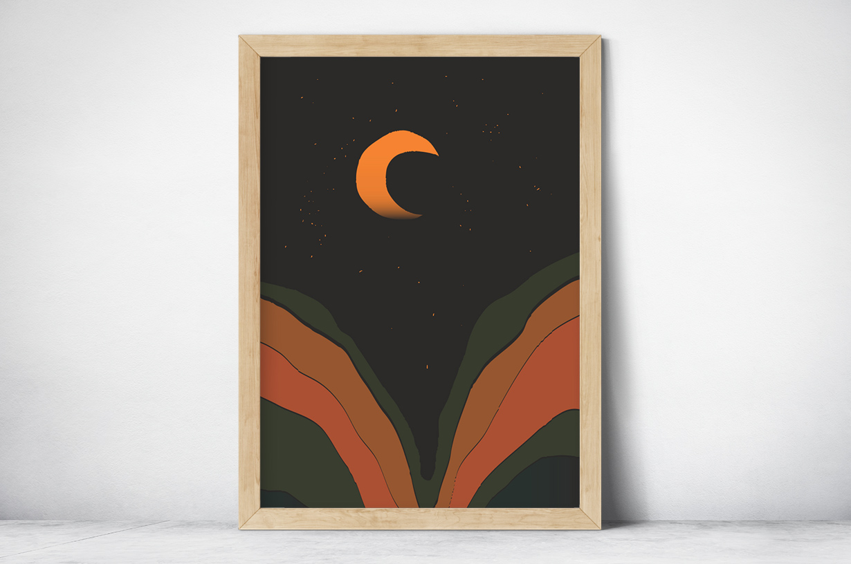 Plakat - Grafika księżyc w nowiu - fototapeta.shop