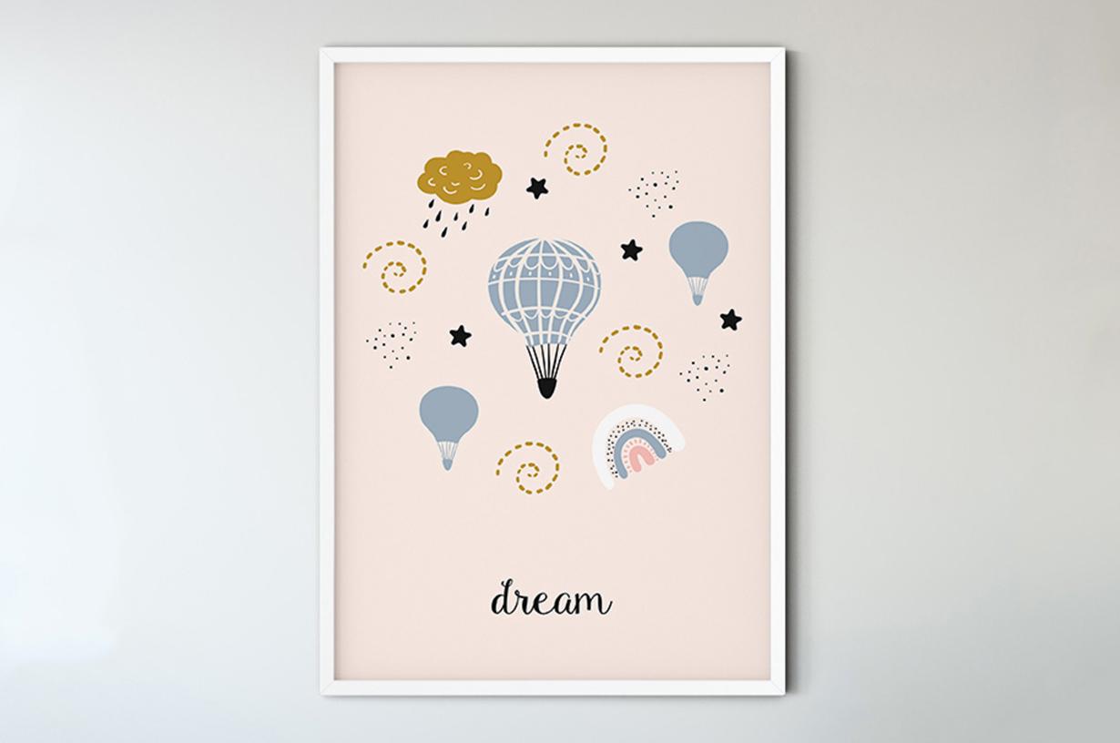 Plakat - Różowa grafika z balonami - fototapeta.shop