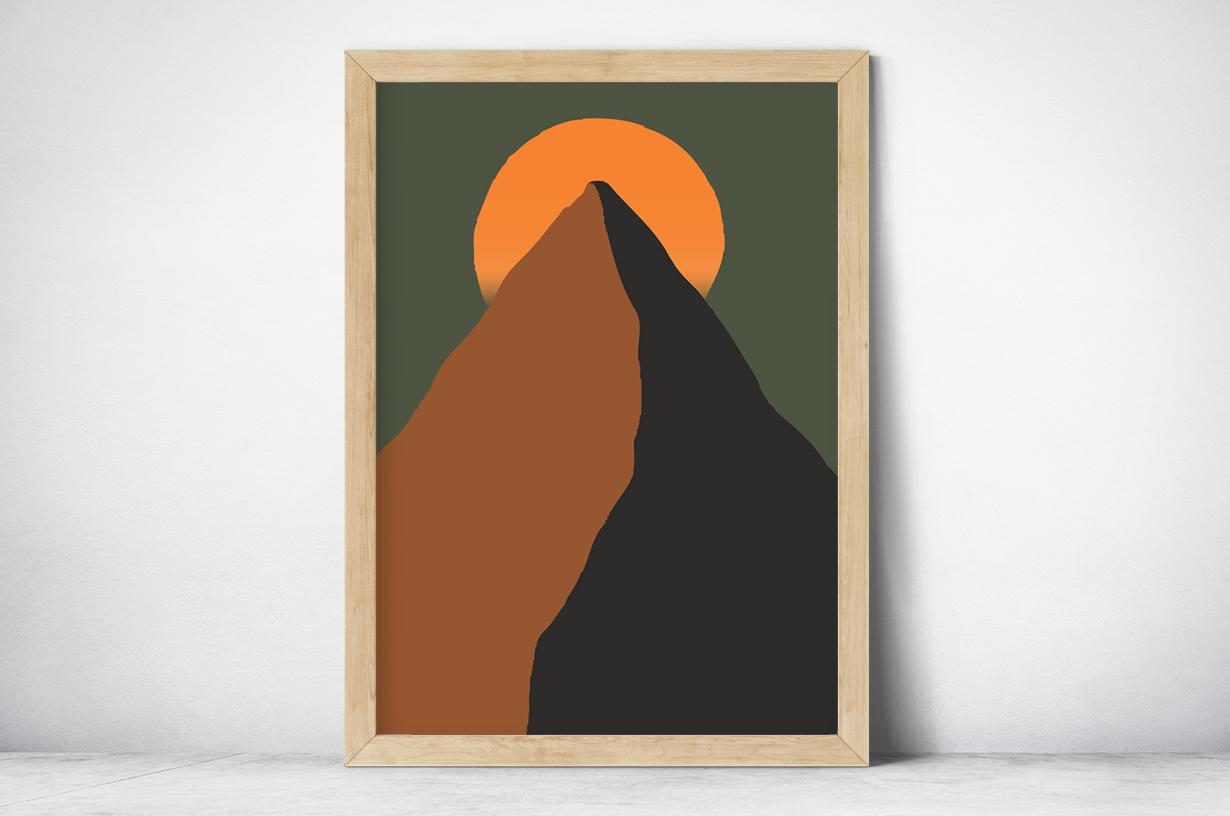 Plakat - Grafika słońce nad szczytem - fototapeta.shop