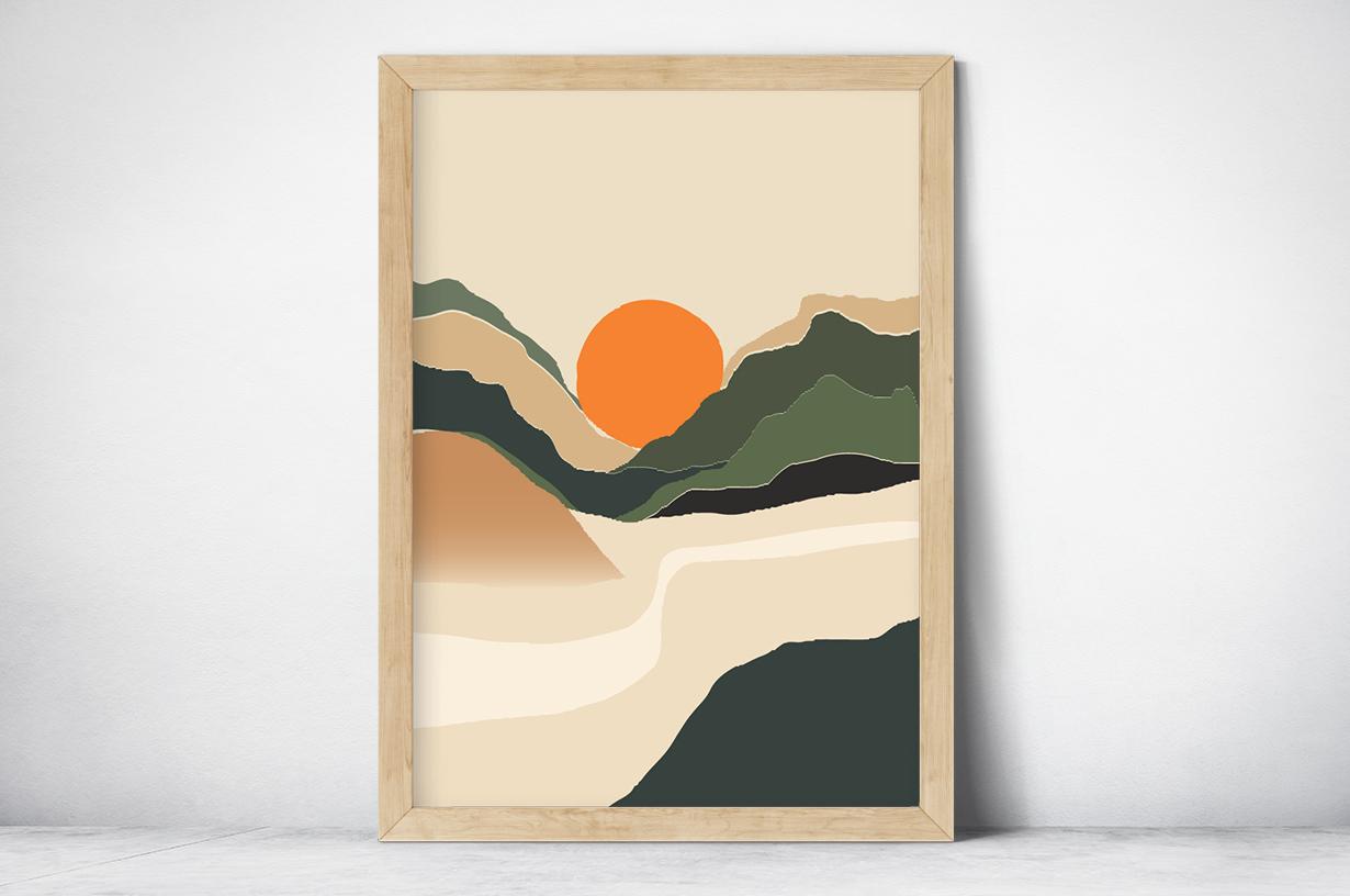 Plakat - Grafika słońce w górach - fototapeta.shop