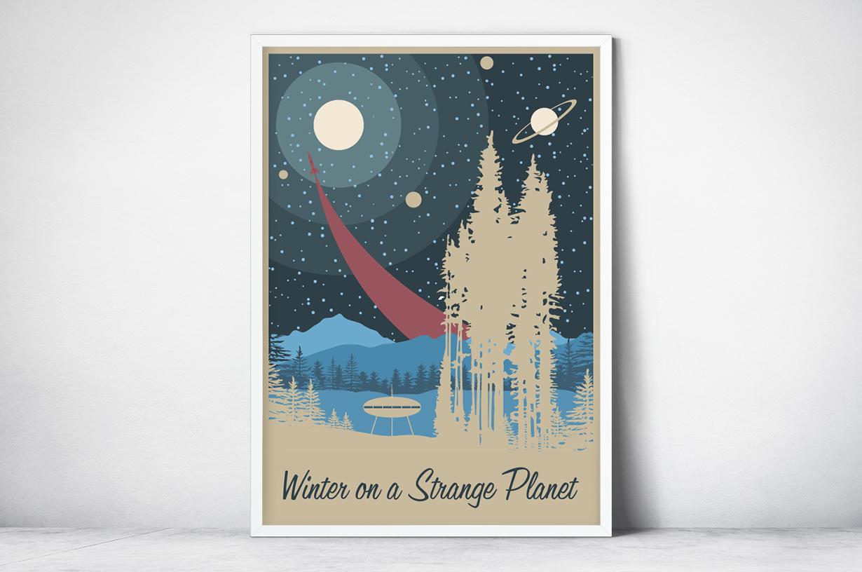 Plakat - Statek kosmiczny retro - fototapeta.shop