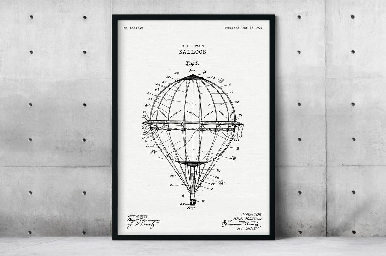 Plakat - Balon wg projektu R.H. Upsona - fototapeta.shop