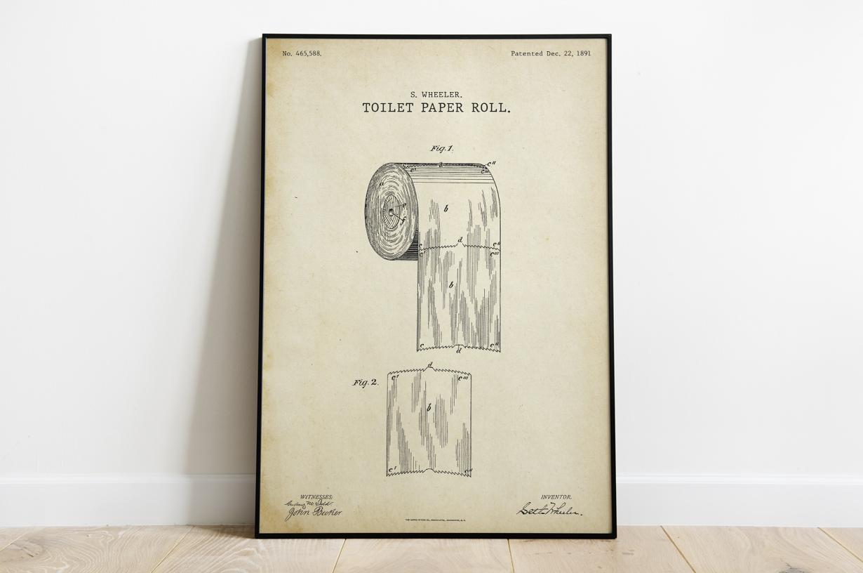 Plakat - Projekt papieru toaletowego retro wg Wheelera - fototapeta.shop