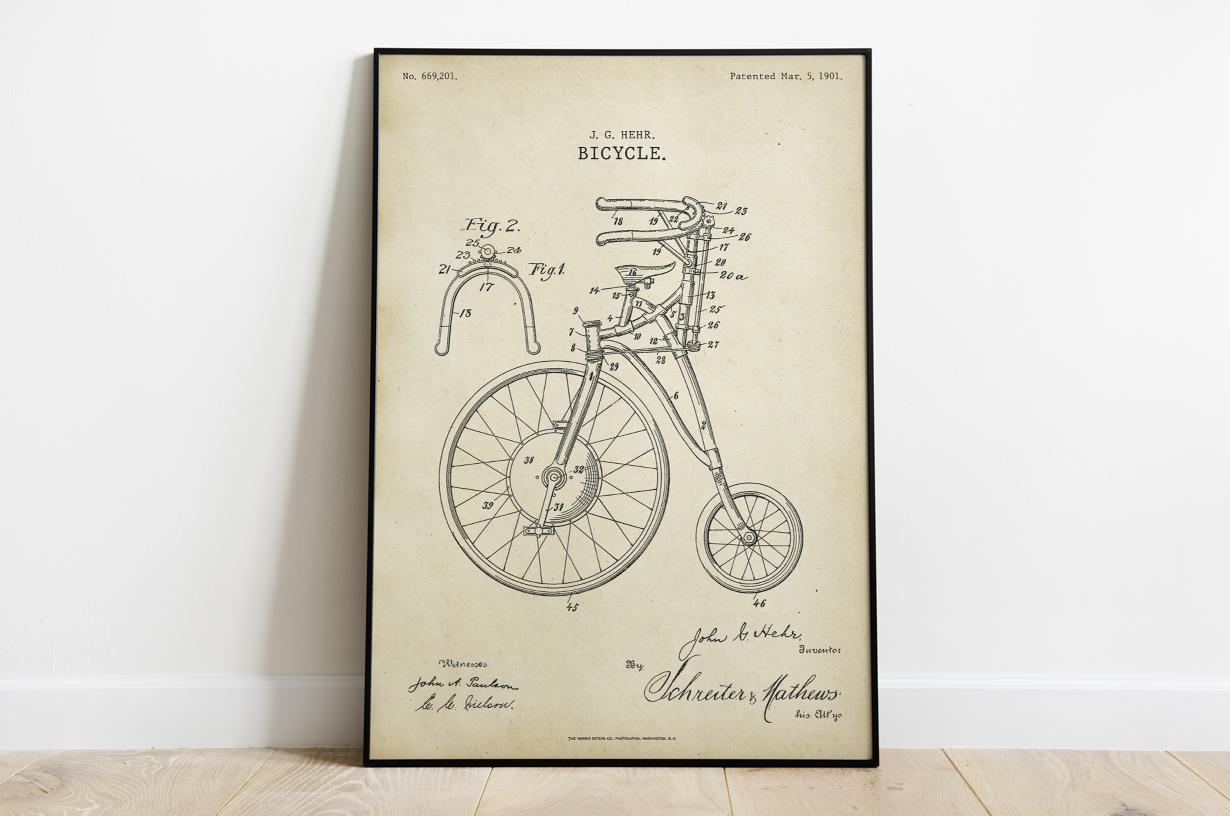Plakat - Rower retro projektu Johna Hehra - fototapeta.shop