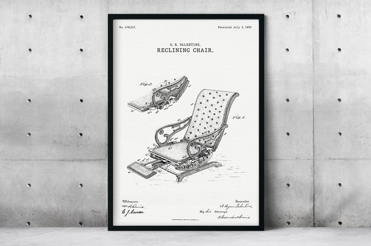 Plakat - Krzesło fryzjerskie patent Valentine - fototapeta.shop