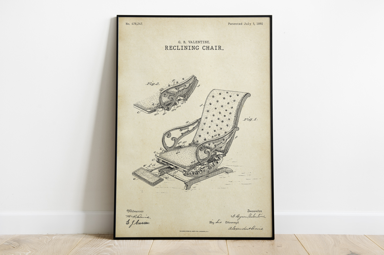 Plakat - Krzesło fryzjerskie retro patent Valentine - fototapeta.shop