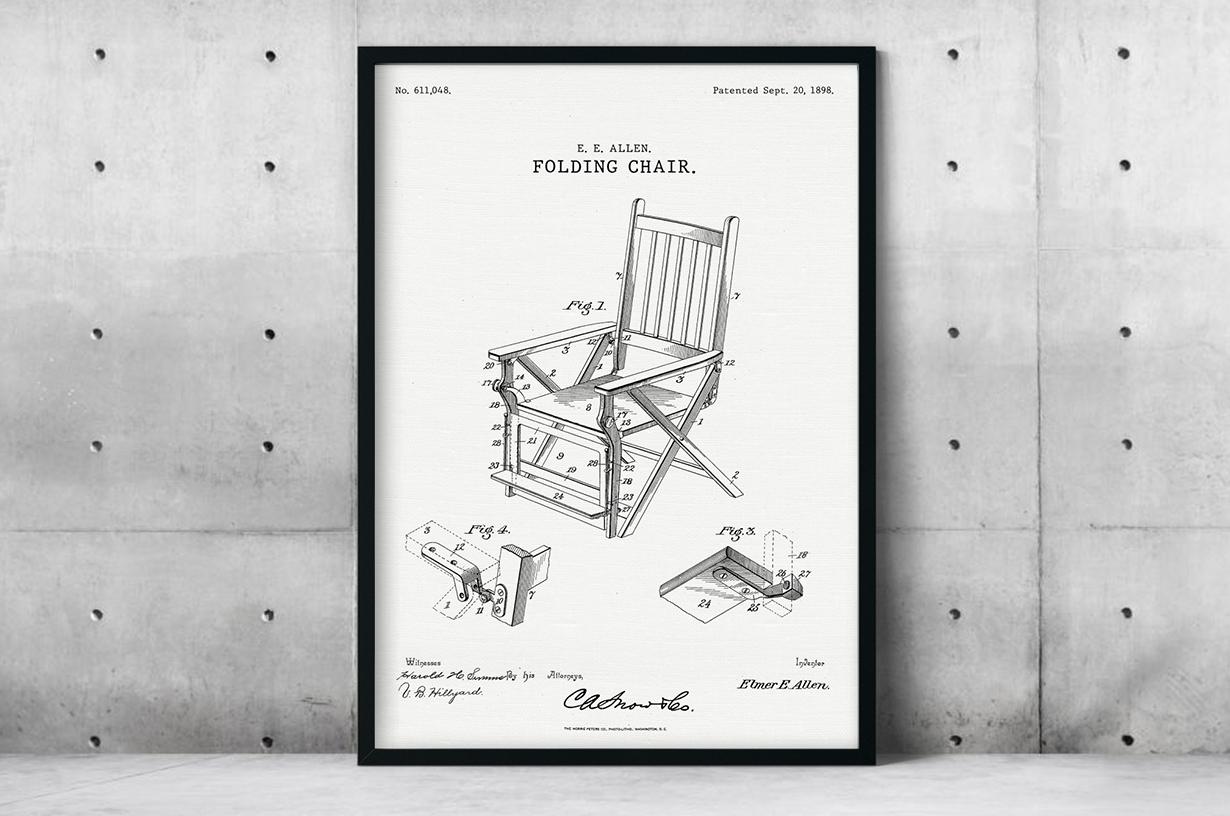 Plakat - Składane krzesło patent Elmera Allena - fototapeta.shop