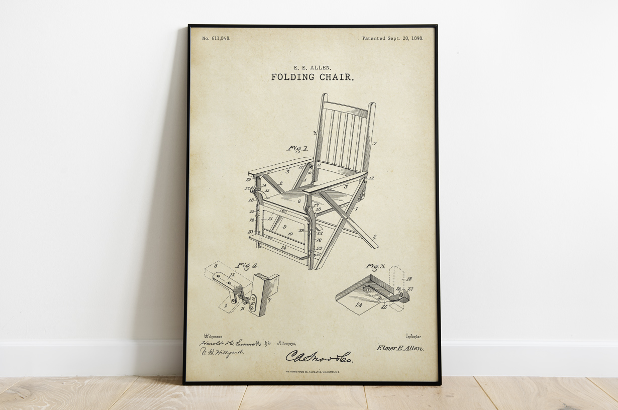 Plakat - Składane krzesło retro patent Elmera Allena - fototapeta.shop