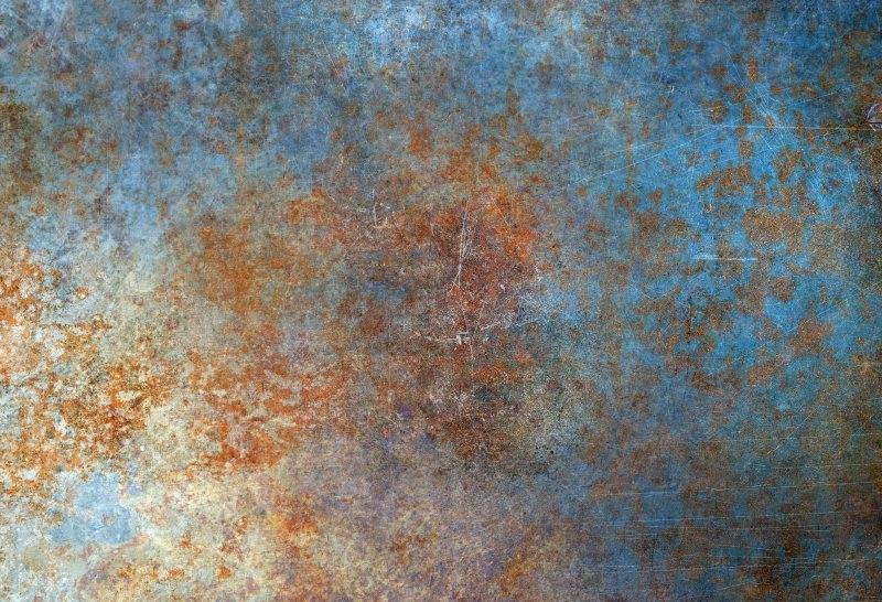 Fototapeta - Zardzewiały metal w tonacji niebieskiej - fototapeta.shop